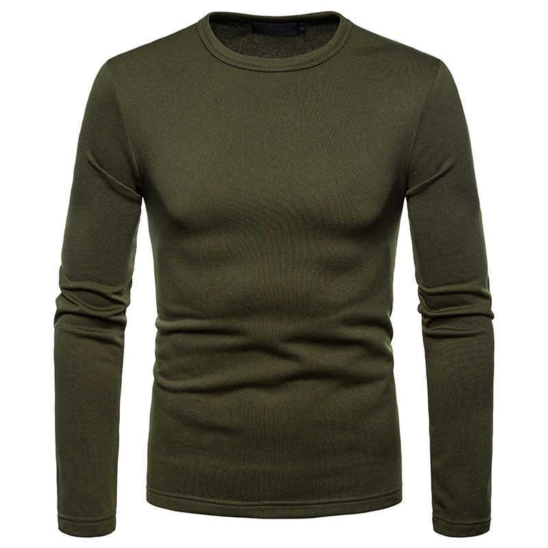 冬プラスベルベットウォーム Tシャツ男性 2018 ブランド新スリムフィット長袖 Tシャツオムカジュアルストリートトップス tシャツ男性のための