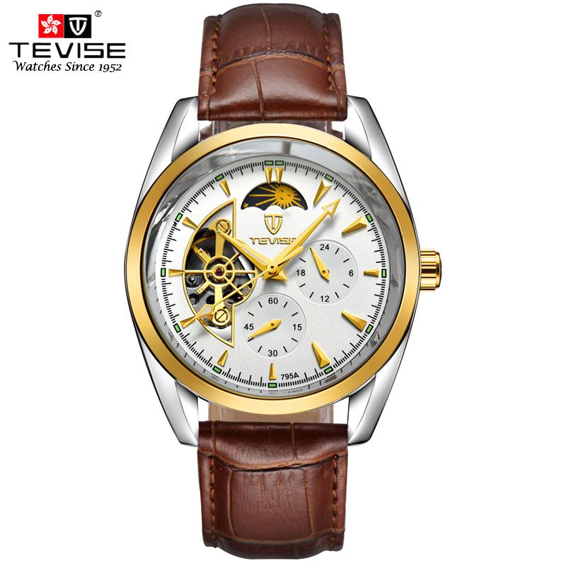 Prix pour Tevise automatique mécanique hommes montre tourbillon auto-vent en cuir et en acier inoxydable de luxe or montre-bracelet hombre tvs04