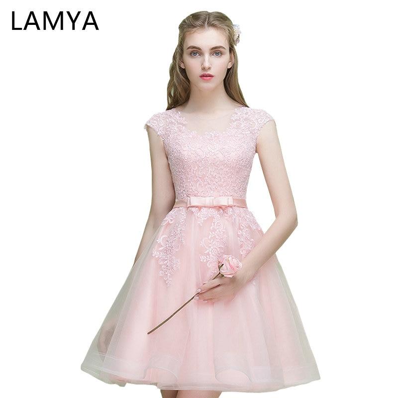 LAMYA Cheap Vintage Short Evening Dress Women 2019 Lace Tulle Appliqued Prom Dress Elegant Party Gown Zipper Vestidos De Novia