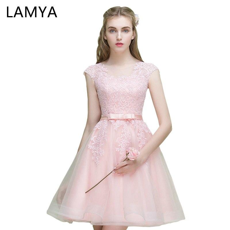 826799c45 Lamya barato noche corto vendimia mujeres 2018 Encaje tulle apliques  vestido elegante partido vestido cremallera vestidos de novia en Vestidos  de noche de ...