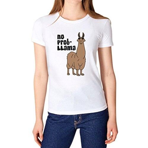 ... Comprar Camisas de Escritório Online Mulheres O pescoço Curto Luva  Nenhum Prob Lhama Tee em Camisetas  Camiseta baratas comprar online de  mulher ... 3adf7c17a626d