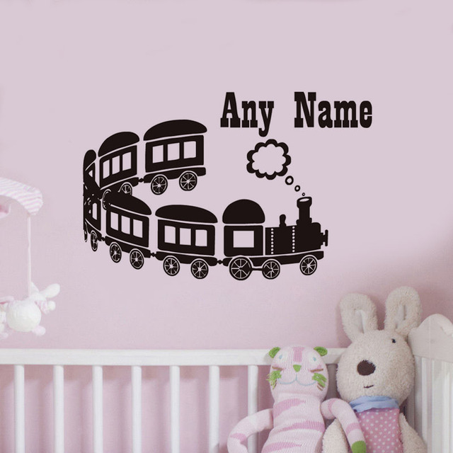 any name kids wall decal long range cartoon train vinyl wall sticker