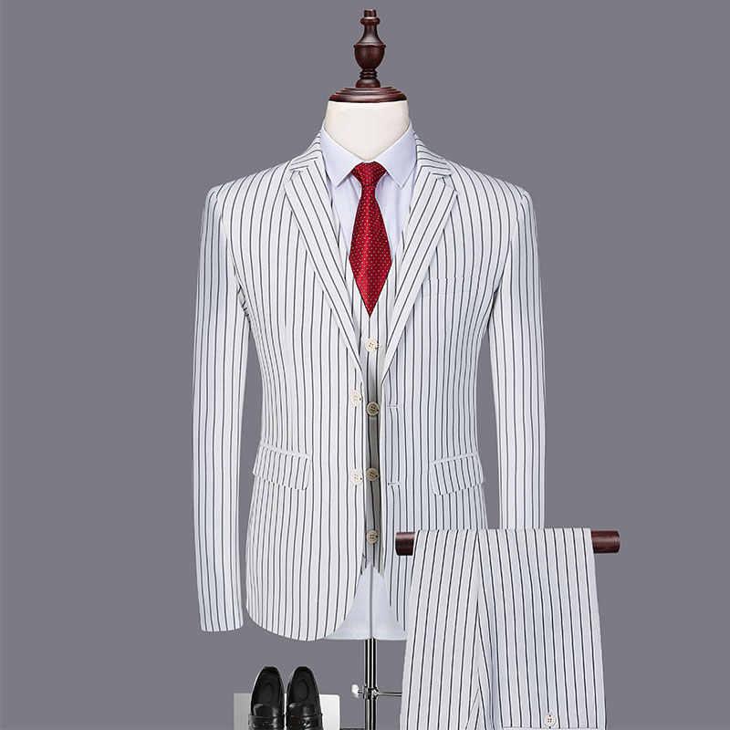 عالية الجودة زائد حجم 6XL الأبيض شريط الرجال دعوى مجموعات الحلل + السراويل + سترة 3 قطع العريس الزفاف رجالي الرسمي حزب الدعاوى