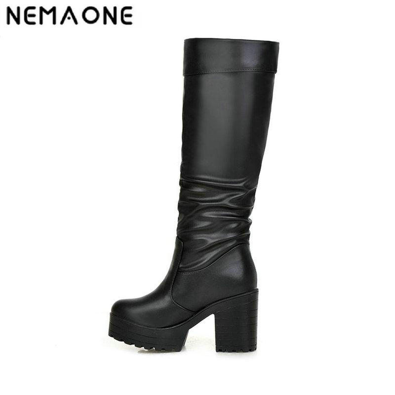 NEMAONE 2017 new arrive fashion sexy women in winter to keep warm and knee boots bottom of the thick snow boots big size 34-43 in the new winter boots sexy 2016 meters white hollow pointed red bottom short boots sm70887bt k1