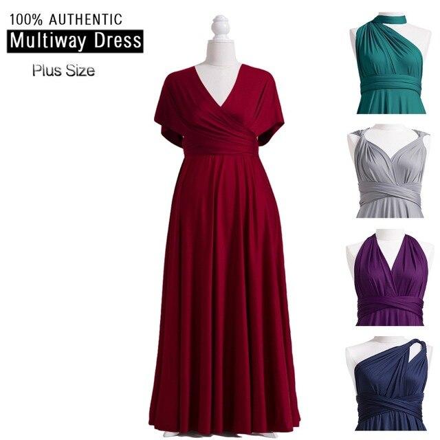 Vestido de dama de honor Borgoña Multiway Plus vestido largo infinito Maxi vestido envoltura con estilos de mangas