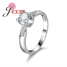 JEXXI Luxury Round Cut Cubic Zircon 925 Sterling Silver Jewelry Wedding Rings Women Bijoux Girls Fashion