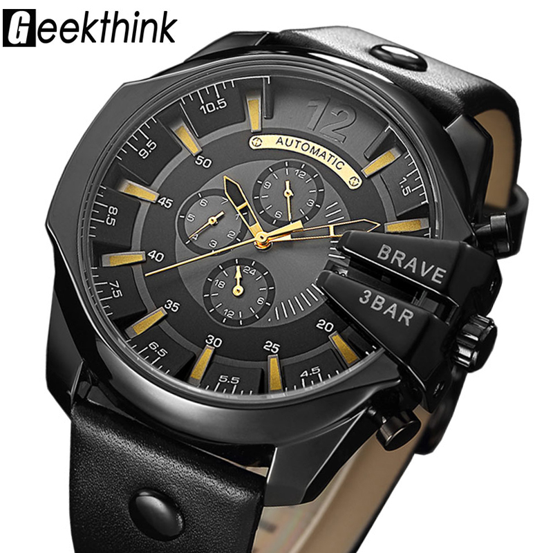GEEKTHINK New Luxury Brand Automatic Mechanical Watch Men's Sports Self wind watch Steel Leather strap Fashion Clock Male Gift mechanical watch automatic self wind skeleton female ladies wristwatch brand leather strap 2017 new fashion woman stylish lz309