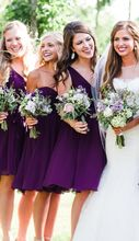 2017 Cheap Elegant Bridesmaid Dress A-line Purple V-neck Chiffon New Arrival Mini Short Bridesmaid Dresses
