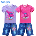 Girls Clothing Set Trolls For Baby Girls Poppy Costume Cotton T-Shirt+Jeans Shorts for Girls summer clothes Fantasias Infantis