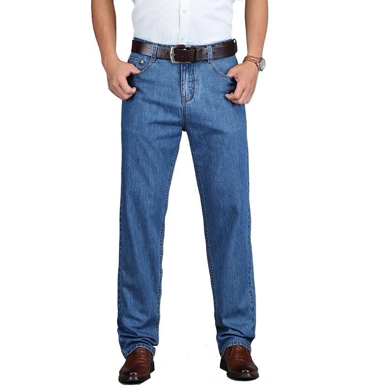 2018 New 100% Cotton Summer Men Classic Blue Jeans Straight Long Denim Pants Middle-aged Male Quality Lightweight Jeans