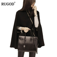 Rugod Spring Winter Fashion Black Women Sweaters And Pullovers Batwing Sleeve Women S Turtlenecks Cloak Casual