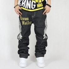 Старая плитка плюс размер свободные хип-хоп хип-хоп джинсы брюки мужчины не связанные с основной мужской одежды мужчины скейтборд брюки