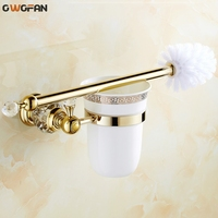 Toilet Brush Holders Luxury Wall Mounted Brass with Crystal Ceramic Cup Golden Bath Toilet brush Bathroom Accessories 4546K