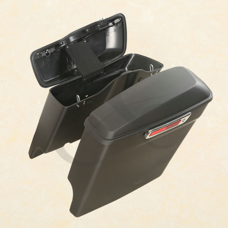 Matte Black Extended Stretched Hard font b bags b font Saddlebags For Harley HD Touring 14