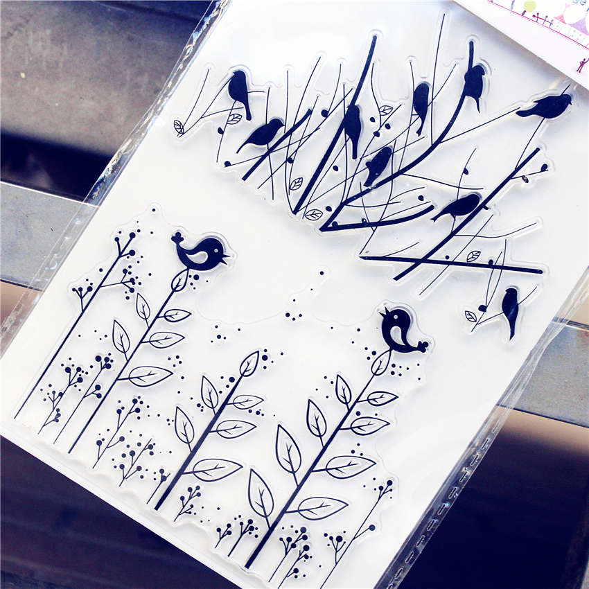 PANFELOU 11.3*15.56cm The bird grass Transparent Silicone Rubber Clear Stamps cartoon for Scrapbooking/DIY  wedding album from 2012 ea1420 1ms new 0626 coastal bird stamps