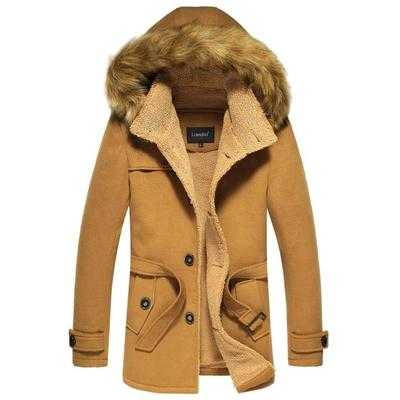 New Arrival Fashion Autumn Winter Long Sleeves Thick Cashmere Woolen Sashes Fur Hooded Collar Jackets Overcoat
