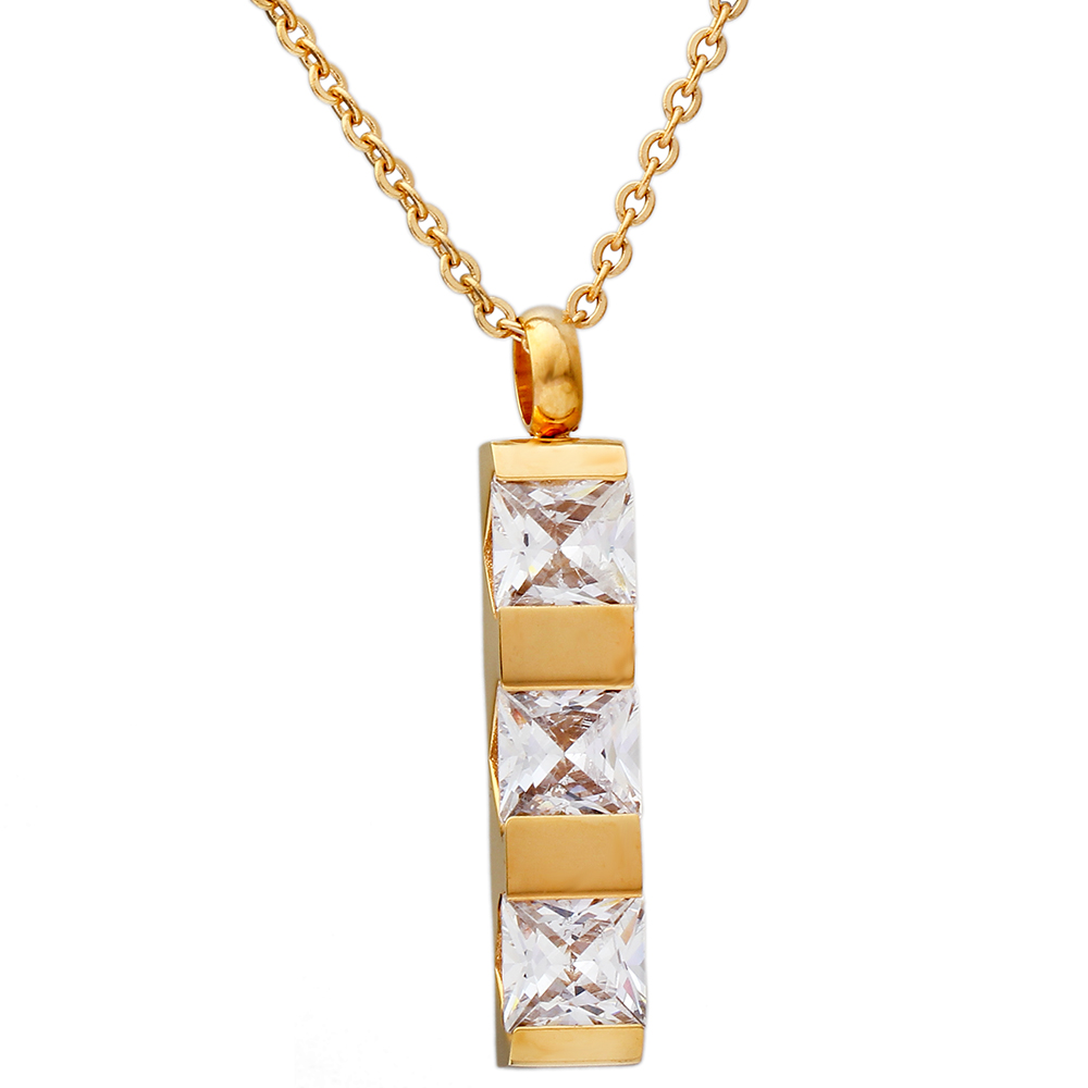 VQYSKO Gold Color Stainless steel Square Of Brand Clear and Red Shape CZ Pendant Necklaces for Women Party Jewelry