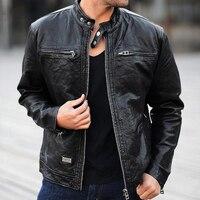 Мужская кожаная куртка из натуральной овчины/замшевой кожи, модный брендовый дизайн, Повседневная тонкая Байкерская Мотоциклетная Куртка