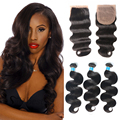 8a Mink Brazilian Virgin Hair Body Wave With Closure Ms Lula Hair With Closure And Bundles Human Hair Weave Bundles With Closure
