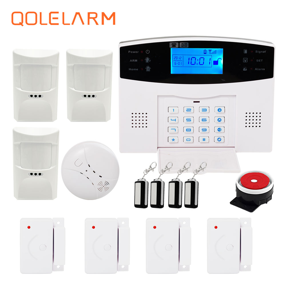 English/Russian/French/Spanish voice quad band GSM alarm system home security autodial phone remote control with smoke detector sim900 quad band gsm gprs cell phone development board w voice antenna deep blue