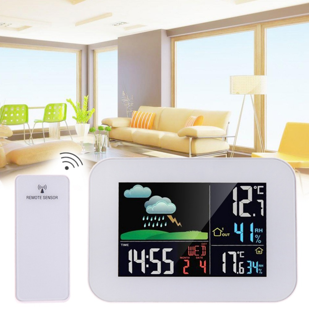 Wireless Color Weather Station In Outdoor Forecast Temperature Humidity Meter Alarm And Snooze Thermometer Hygrometer