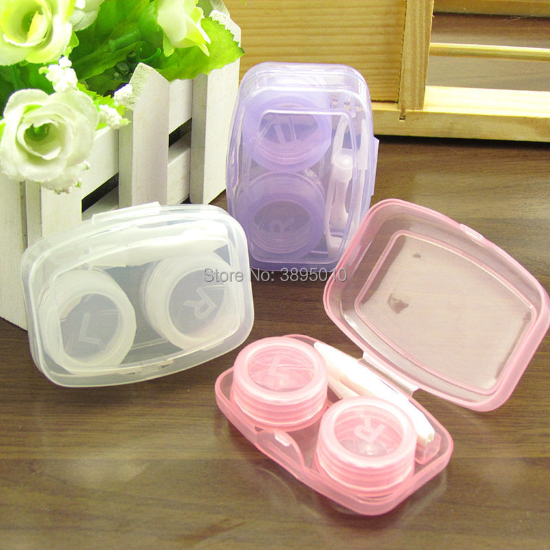 Random Color Transparent Pocket Plastic Contact Lens Case Travel Kit Easy Take Container Holder F1128