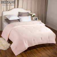 Bedsure Washed Cotton Like Duvet Comforter Insert With Corner Ties Solid Pink Quilted Down Alternative Edredom