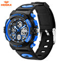 HOSKA Blue LED Digital Watches for Kids Men Women 30m Waterproof Silicone Outdoor Sports Multifunction Eelectronic Wristwatch