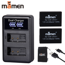 Mamen 1100 мА/ч, LP-E17 LPE17 LP E17 Камера Батарея + USB LCD Dual charger для цифровой однообъективной зеркальной камеры Canon EOS M3 M5 M6 поцелуй X8i 750D 760D T6i T6s 800D