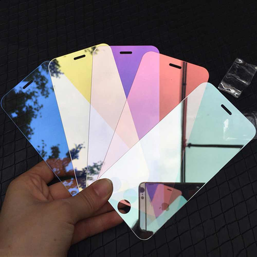Mirror effect Tempered Glass Screen Protector for iPhone X XR XS Max 5S 5C SE 6 6S 7 8 Plus Colorful Full Cover Protective Film