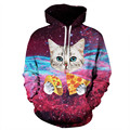 Hood by air mens funny 3d digital galaxy creative starry sky Cats eat pizza hoodies and sweatshirts hip hop men boys plus size