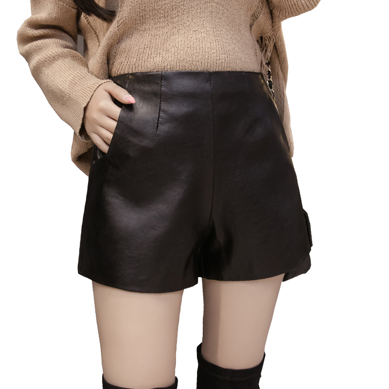 New Wide Leg PU Faux Leather Shorts Women Spring Autumn Ladies Black High Quality Loose Short Pants With Pockets Plus Size 3XL