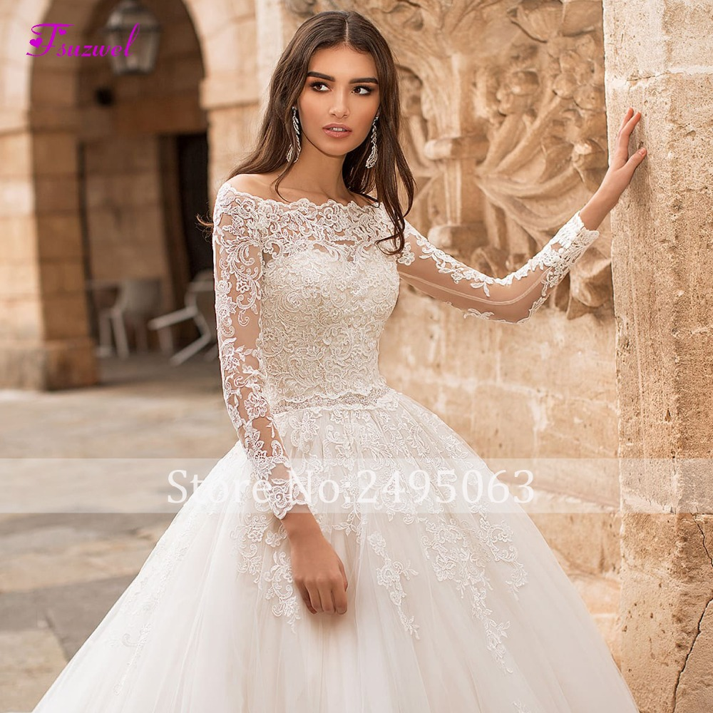 Image 3 - Fsuzwel New Boat Neck Appliques Long Sleeve A Line Wedding Dress 2019 Luxury Crystal Sashes Princess Bride Gown Vestido de Noiva-in Wedding Dresses from Weddings & Events