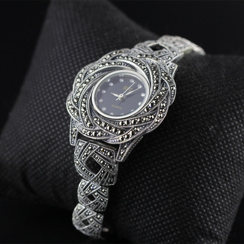 Character silver items S925 pure silver ornaments new mark antique watch Thai manual exaggerated female model s925 pure silver personality female models new beeswax
