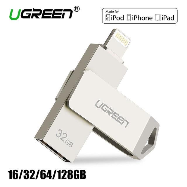 Ugreen USB Flash Drive 32GB 64GB For iPhone 7 7 Plus 6 5 5S Lightning to Metal Pen Drive U Disk for MFi iOS10 memory stick 128GB