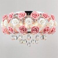 Idyllic Modern Crystal 5 Lights Drum Pink Rose Flower Ceiling Light Fixture Lighting For Bedroom Living