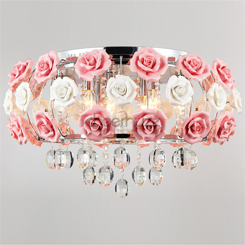 Idyllic modern crystal 5 lights drum pink rose flower ceiling light idyllic modern crystal 5 lights drum pink rose flower ceiling light fixture lighting for bedroom living room e12e14 bulb pl435 in ceiling lights from aloadofball Images
