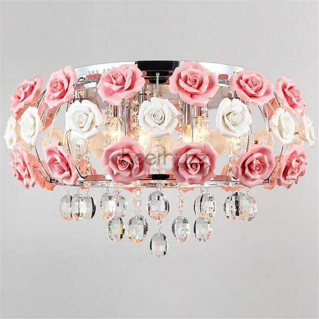 Idyllischen Moderne Kristall 5 Lichter Trommel Rosa Rose Blume ...