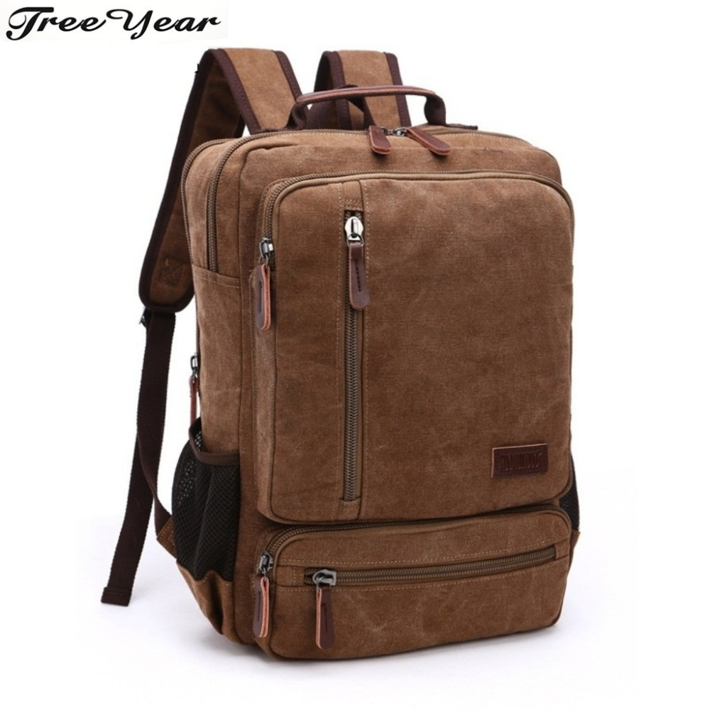 Canvas Backpack For Teenage Boys Large Capacity Man Travel Bag Mountaineering Backpack Men Bags Canvas Bucket Shoulder Bag
