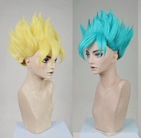 Dragon Ball Z GOKU Golden Blonde Blue Anime Cosplay Costume Wig +Wig Cap +Track