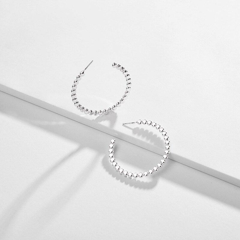 Women Jewelry Simplicity Design Round Ball Copper Hoop Earrings Simple Metal C shape Hoops in Hoop Earrings from Jewelry Accessories