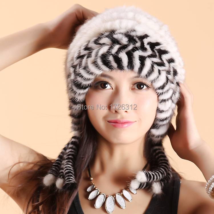 ФОТО 2016  winter mink fur hat women's fur cap ball two-color mink fur hat