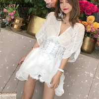 2018 V Neck Perspective Ruffled Waistband Blouse Girdle Sexy Puff Sleeve Top White & Black Color