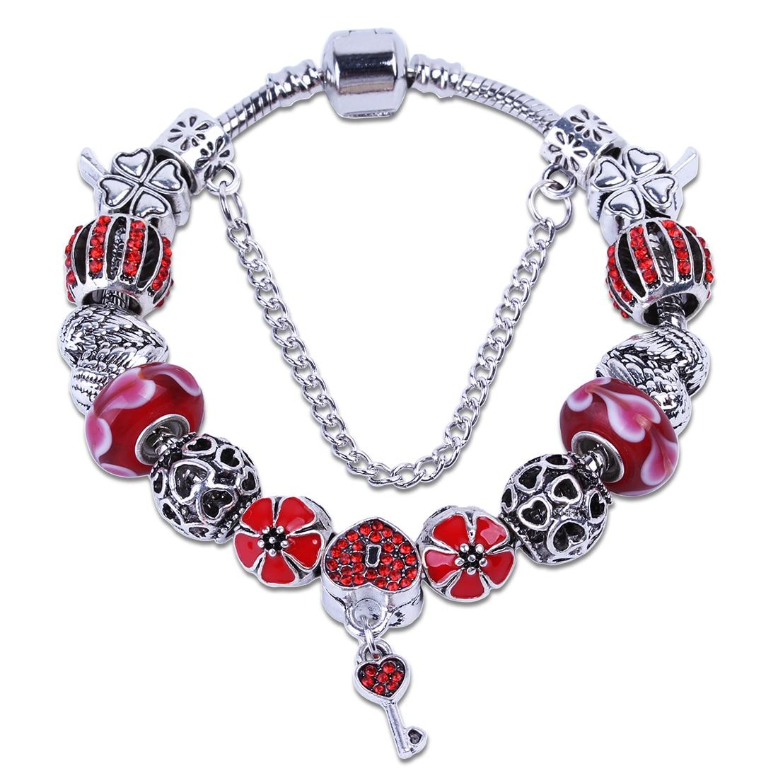 Wholesale Red Crystal Rhinestone Flowers Charms Bracelet Heart Key Diy  Beads Fit European Charm Bracelets &
