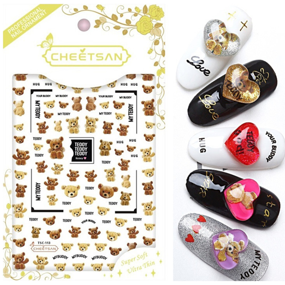 TSC 113 Cheetsan brand 2018 newest 3d nail art stickers nail decals export quality gold sticker in Stickers Decals from Beauty Health