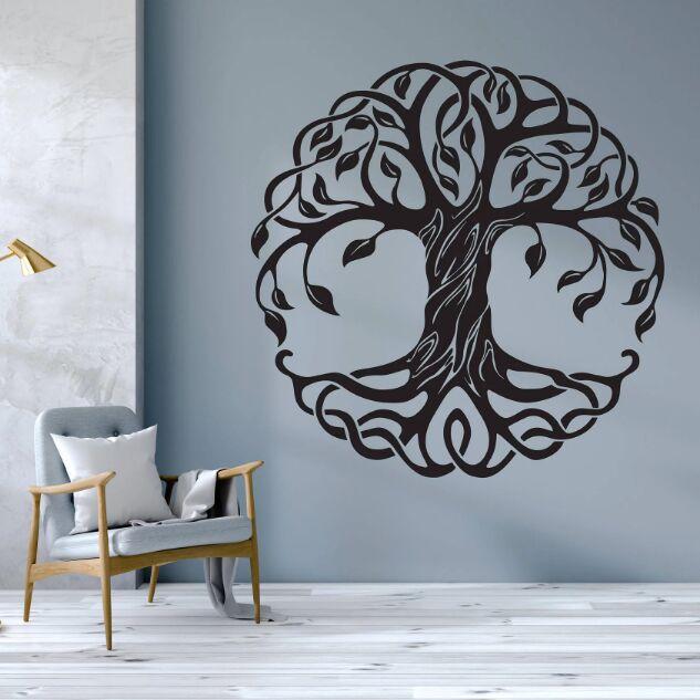 Adesivo de Parede Círculo de Árvores Parede para Casa Árvore Removível Decalque da Parede da Árvore da Vida Mandala Vinil Pintura Mural da Decoração Arte da Parede Yoga Ay1721