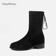 women ankle boots flock fashion lace up round toe hoof heels elegant stretch warm winter beige black office shoes dress booties