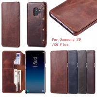 2018 New Genuine Real Leather Flip Cover Phone Case for Samsung Galaxy S9 Wallet Case Luxury Business Style for Samsung S9 Plus
