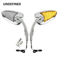 LED Chrome Mirror Motorcycle Turn Signal Rearview Mirrors For Harley Sportster XL 883 XL1200 Softail Dyna FLHX 2014 2019 Moto