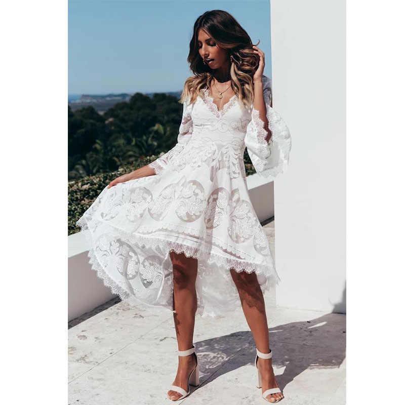 db94d787b26 ... Белое кружевное платье для женщин 2019 торжественное платье для плюс  размер женское длинное платье Элегантное Бохо ...